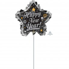 Mini Star Ruffle Happy New Year! Shaped Balloon 45cm x 91cm