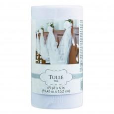 White Tulle Spool Misc Decoration 15.2cm x 59.4m
