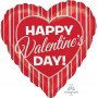 Heart Standard Silver Stripes Happy Valentine's Day! Shaped Balloon 45cm