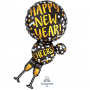 Champagne Glasses SuperShape Holographic Happy New Year! Cheers! Shaped Balloon 45cm x 91cm