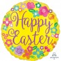 Round Standard HX Floral Happy Easter Foil Balloon 45cm