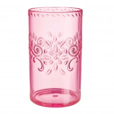 Boho Vibes Party Supplies - Plastic Glass Pink Floral Highball Tumblers