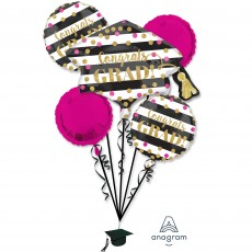Graduation Bouquet Gold Confetti Congrats Grad! Foil Balloons Pack of 5