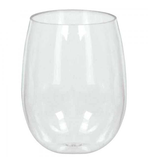 Clear Stemless Wine Glasses Plastic Glasses 354ml Pack of 8