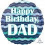 Standard HX Watercolor Waves Happy Birthday, Dad Foil Balloon 45cm