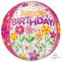 Orbz XL Garden Patch Clear Happy Birthday! Shaped Balloon 38cm x 40cm