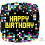 Square Happy Birthday Pixels ColorBlast XL Shaped Balloon 53cm