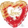 Heart Love SuperShape XL Red & Gold Ruffle Shaped Balloon 71cm x 71cm