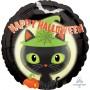 Round Standard HX Black Kitty Cat Happy Halloween Foil Balloon 45cm