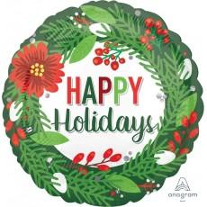 Christmas Standard HX Wreath Happy Holidays Foil Balloon 45cm