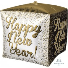 Cubez White, Gold & Black UltraShape Happy New Year! Shaped Balloon 38cm x 38cm