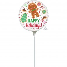 Round Christmas Cookies Happy Holidays! Foil Balloon 22cm