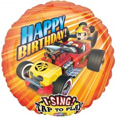 Round Mickey Mouse Roadster Racers Jumbo Sing-A-Tune Singing Balloon