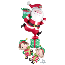 Christmas Party Decorations - Shaped Balloon Santa & Elves Stacker