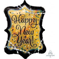 SuperShape Holographic Streamers & Sparkles Happy New Year! Shaped Balloon 60cm x 68cm