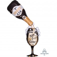 Giant Bottle & Glass New Year Multi-Balloon Time for Bubbly Pop! Fizz! Clink! Shaped Balloon 86cm x 177cm