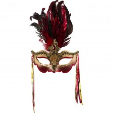 Mardi Gras Party Supplies - Venetian Luxe Feather Mask