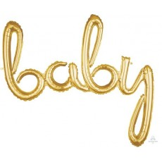 Gold Script Baby Foil Balloon 99cm x 83cm