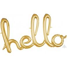 Gold Script Hello Foil Balloon 99cm x 55cm
