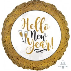 Round Standard Holographic Gold Glitter Hello New Year! Foil Balloon 45cm