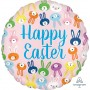 Round Standard HX Cute Bunny Faces Happy Easter Foil Balloon 45cm