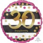 Pink & Gold 30th Birthday Standard Holographic Foil Balloon 45cm