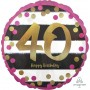 Round 40th Birthday Pink & Gold Milestone Standard Holographic Foil Balloon 45cm