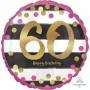 Round 60th Birthday Pink & Gold Milestone Standard Holographic Foil Balloon 45cm