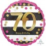 Round 70th Birthday Pink & Gold Milestone Standard Foil Balloon 45cm