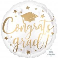 Round White & Gold Graduation Standard HX Congrats Grad! Foil Balloon 45cm