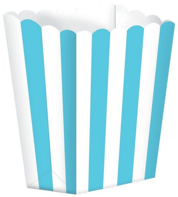 Caribbean Blue Dots & Stripes Small Popcorn Favour Boxes 13cm x 9.5cm Pack of 5