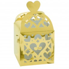 Gold Lantern Paper Favour Boxes 6.3cm x 6.3cm x 6.3cm Pack of 50