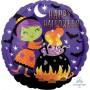 Round Standard HX Witch & Cauldron Happy Halloween Foil Balloon 45cm