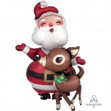 Christmas Santa & Reindeer Airwalker Foil Balloon 78cm x 121cm