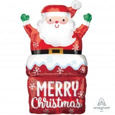 SuperShape Santa in Chimney Merry Christmas Shaped Balloon 50cm x 76cm