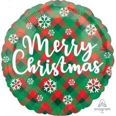 Round Standard HX Green & Red Plaid Merry Christmas Foil Balloon 45cm