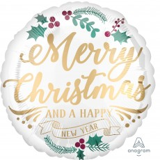 Round Standard Satin Merry Christmas And A Happy New Year Foil Balloon 45cm