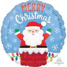 Round Standard HX Santa in Chimney Merry Christmas Foil Balloon 45cm