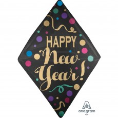 Anglez UltraShape Satin Dots Happy New Year! Shaped Balloon