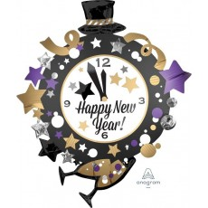 Clock SuperShape Happy New Year! Shaped Balloon 76cm x 88cm
