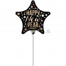 Star Standard XL Satin Happy New Year Shaped Balloon 22cm