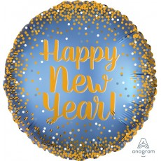 Round Standard XL Satin Happy New Year Foil Balloon 45cm