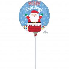 Santa in Chimney Merry Christmas Foil Balloon 22cm