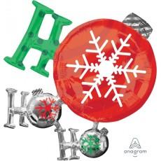 SuperShape Christmas Ornament Ho Ho Ho Shaped Balloon 88cm x 71cm