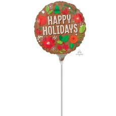 Round Christmas Mini Woodgrain Happy Holidays Foil Balloon