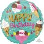 Round Ice Cream Standard HX Happy Birthday Foil Balloon 45cm