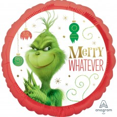 Round Christmas Standard HX The Grinch Movie Merry Whatever Foil Balloon 45cm