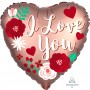 Heart Satin Rose Copper Standard XL I Love You Shaped Balloon 45cm