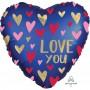 Heart Satin Navy & Gold Standard XL Love You Shaped Balloon 45cm