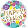 Round Standard HX Eggs & Tulips Happy Easter Foil Balloon 45cm